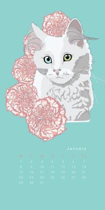 Purr & Fleur Calendar - January Panel