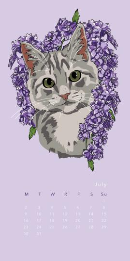 Purr & Fleur Calendar - July Panel