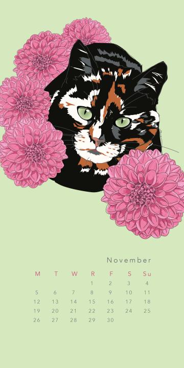 Purr & Fleur Calendar - November Panel