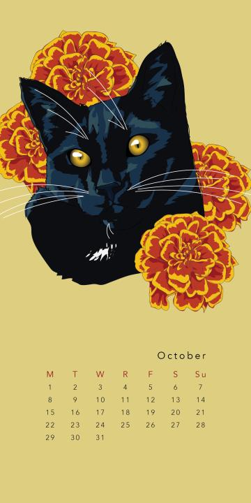 Purr & Fleur Calendar - October Panel