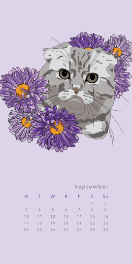 Purr & Fleur Calendar - September Panel